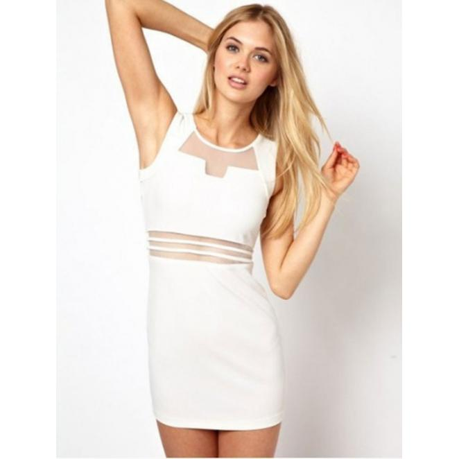 Hollow Low-cut pencil Mini Dress White