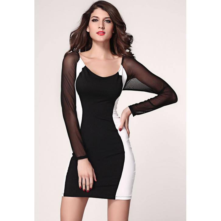 U-Neck Translucent Sleeve Bodycon