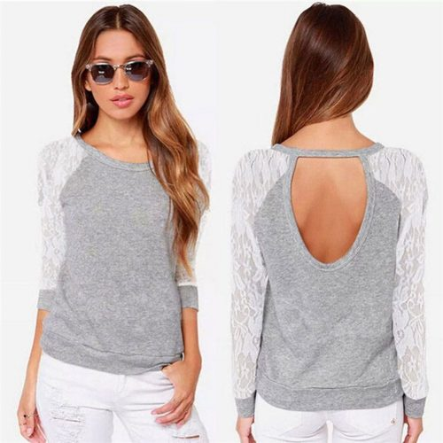 Backless Long Sleeve Lace Tops Grey