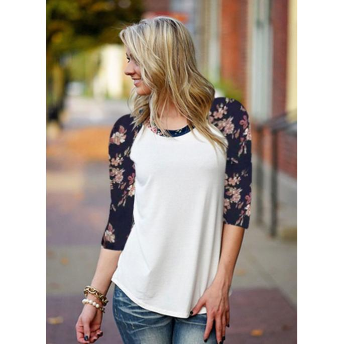 Long Sleeve Casual Loose Cotton Tops White
