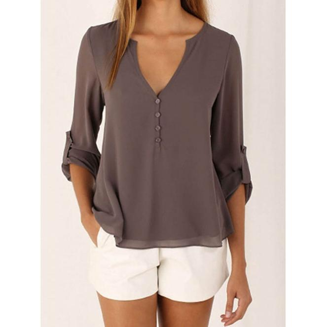 V-Neck Long Sleeves Blouse Grey