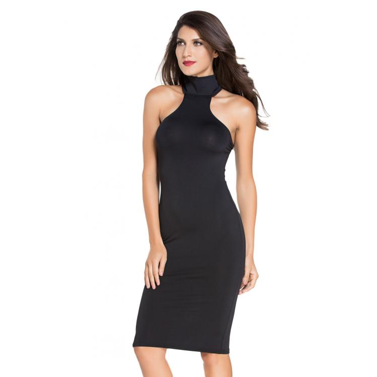 Halter Bodycon Dress Black