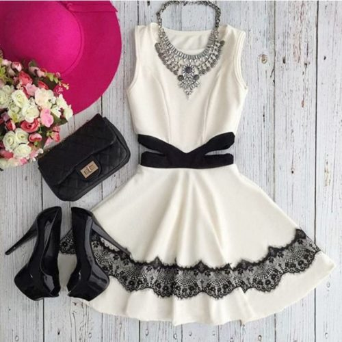 O-Neck Sleeveless Lace Dress