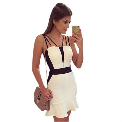 Sleeveless Casual Sexy Mini Dress White