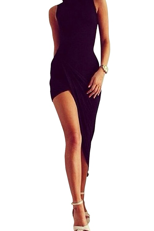 High Neck Sleeveless Slashed Evening Dress Black