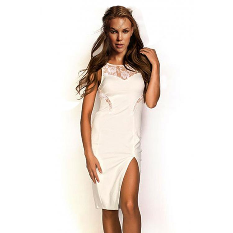 Sexy Slit Lace Bodycon Dress White