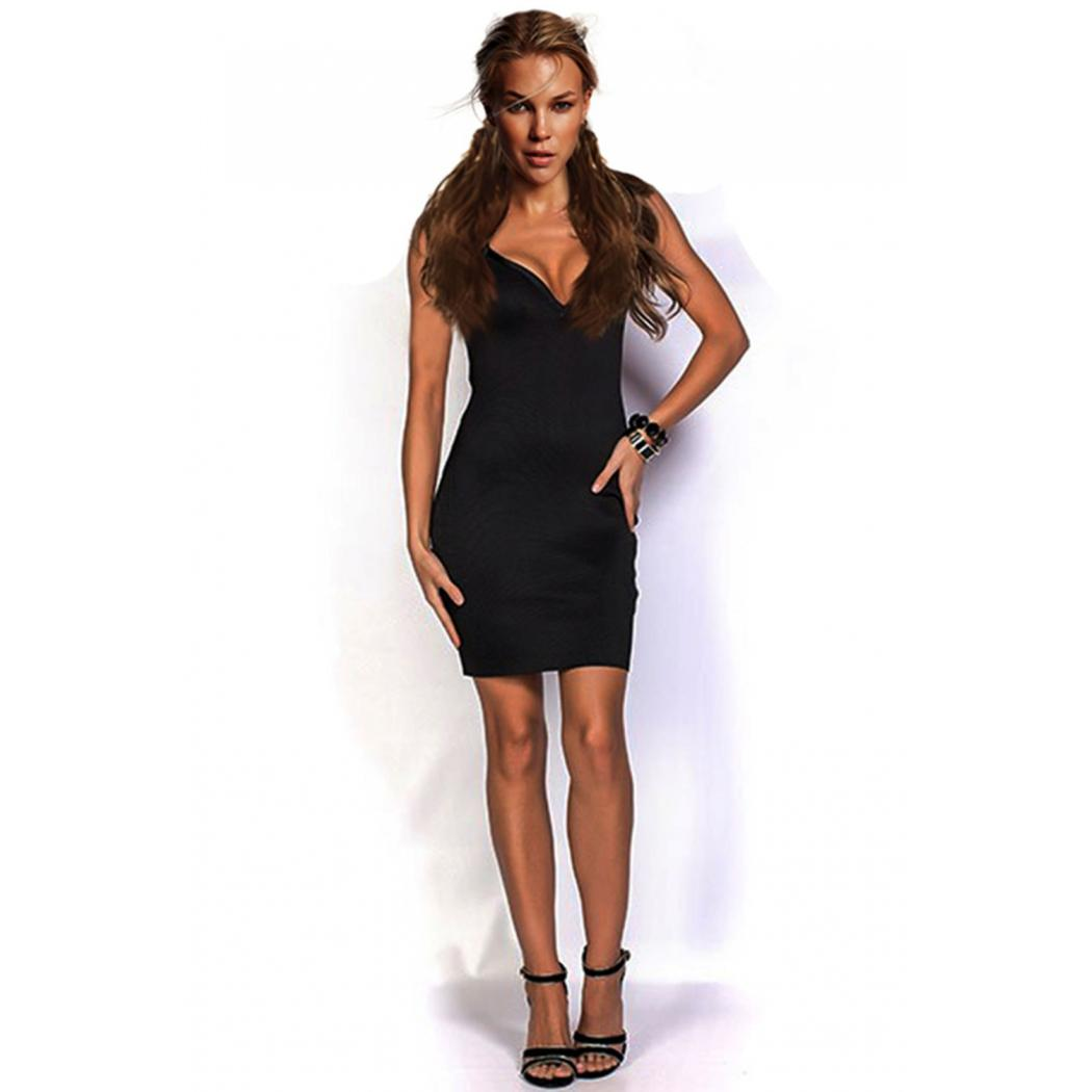 One Piece Deep V-neck Bodycon Dress Black