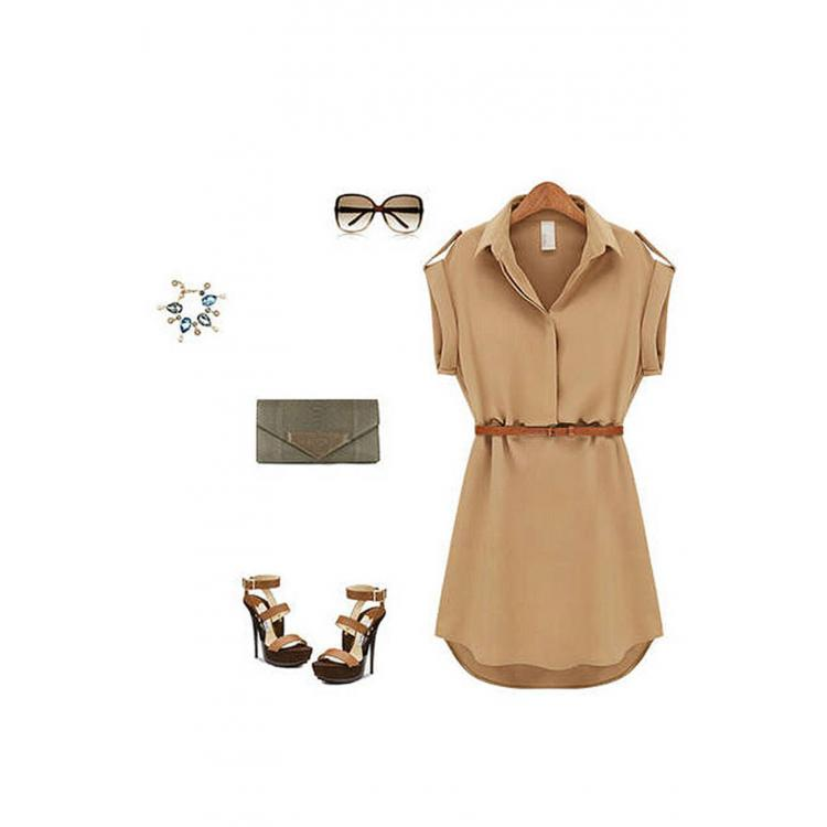 Turn-down Collar Chiffon Shirt With Belt Brown