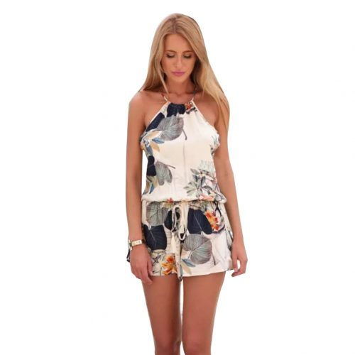 Casual Floral Pattern Halter Neck Jumpsuit