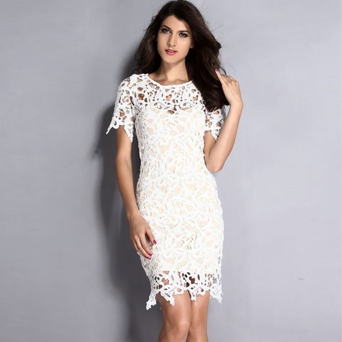 Hollow Out Mini Bodycon Dress White