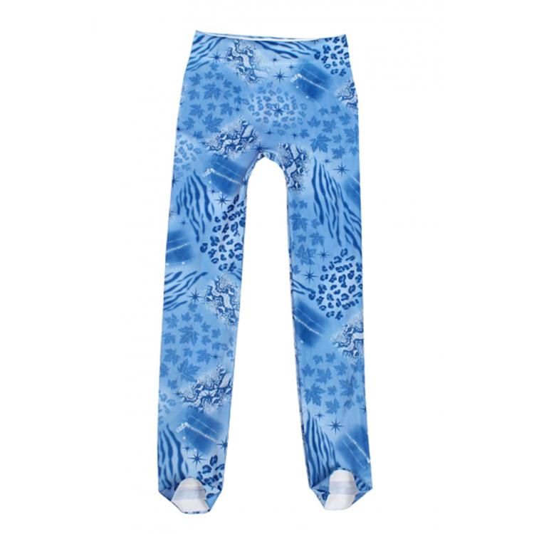 Natural Scenery Print Legging Blue