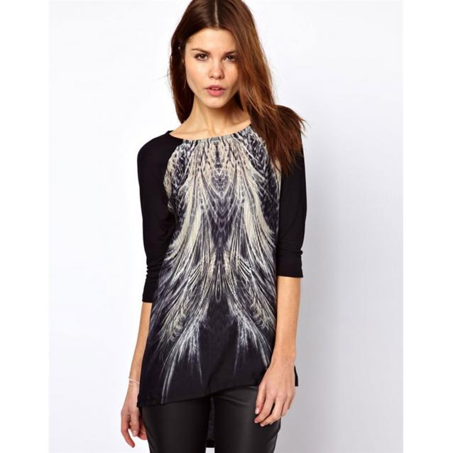 Peacock Tail Printed Long T-Shirt Black