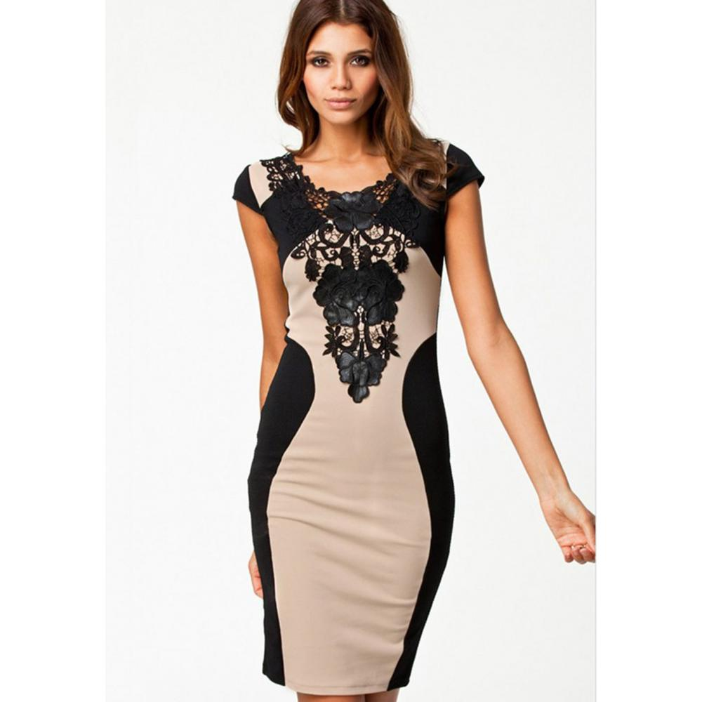 Flowers Lace Round Neck Ankle Dress