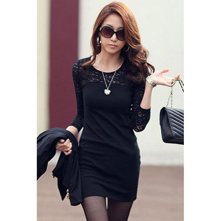 Long Sleeve Sexy Dress Black