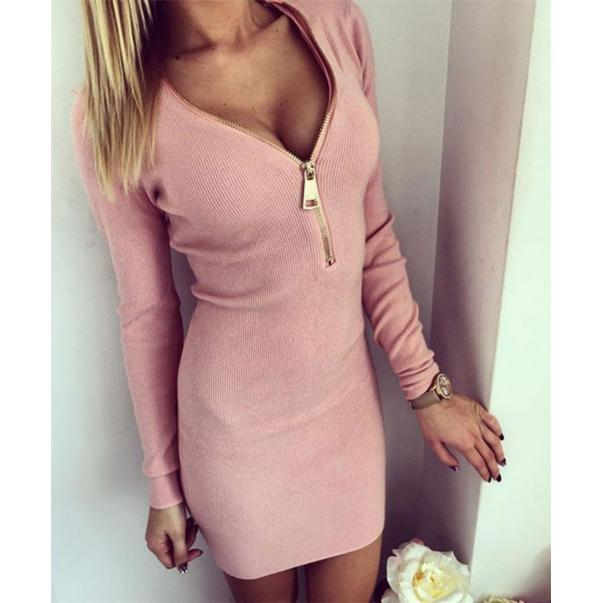 Long Sleeve Bodycon Dress Zipper Closure Pink