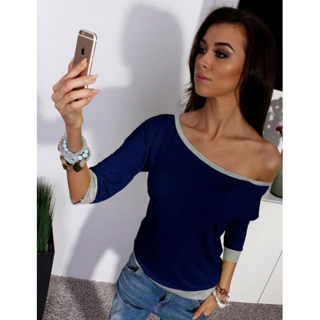 Loose Casual Slash Neck Tops Dark Blue