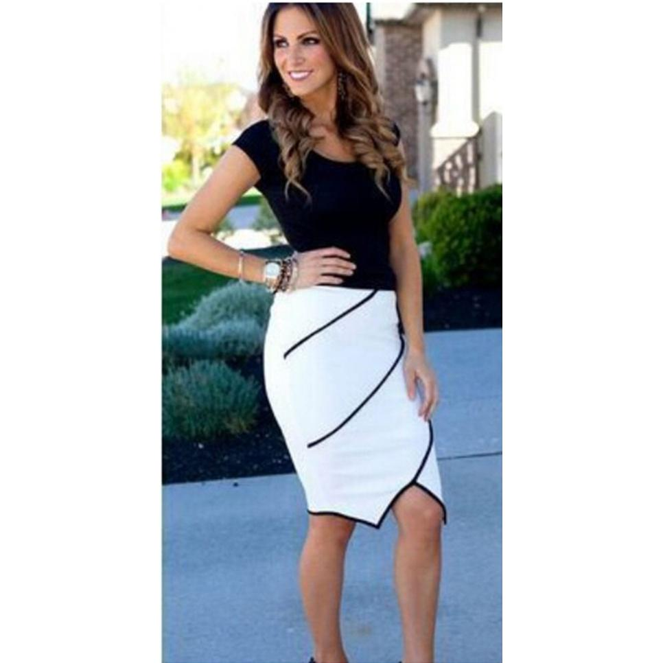 High Waist Tight Fitted Skater Skirt White